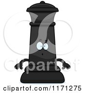 Cartoon Of A Surprised Black Chess Queen Mascot Royalty Free Vector Clipart