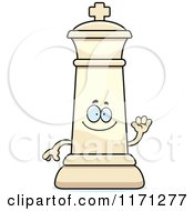 Cartoon Of A Waving White Chess King Royalty Free Vector Clipart