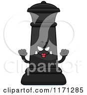 Cartoon Of A Mad Black Chess Queen Mascot Royalty Free Vector Clipart