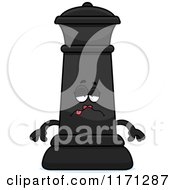 Cartoon Of A Sick Black Chess Queen Mascot Royalty Free Vector Clipart