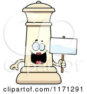 Cartoon Of A Happy White Chess Queen Mascot Holding A Sign Royalty Free Vector Clipart