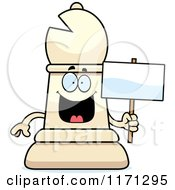 Cartoon Of A Happy White Chess Bishop Piece Holding A Sign Royalty Free Vector Clipart