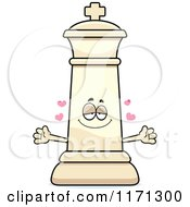 Cartoon Of A Loving White Chess King Wanting A Hug Royalty Free Vector Clipart