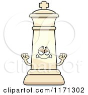 Cartoon Of A Mad White Chess King Royalty Free Vector Clipart