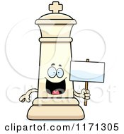 Cartoon Of A Happy White Chess King Holding A Sign Royalty Free Vector Clipart