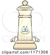 Cartoon Of A Happy White Chess King Royalty Free Vector Clipart by Cory Thoman