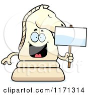 Cartoon Of A Happy White Chess Knight Mascot Holding A Sign Royalty Free Vector Clipart by Cory Thoman