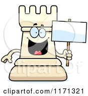 Cartoon Of A Happy White Chess Rook Mascot Holding A Sign Royalty Free Vector Clipart by Cory Thoman