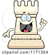 Cartoon Of A Smart White Chess Rook Mascot With An Idea Royalty Free Vector Clipart by Cory Thoman