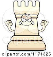 Cartoon Of A Mad White Chess Rook Mascot Royalty Free Vector Clipart by Cory Thoman