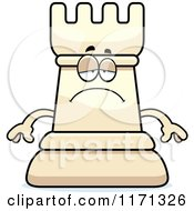 Cartoon Of A Depressed White Chess Rook Mascot Royalty Free Vector Clipart by Cory Thoman