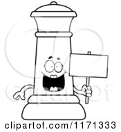 Cartoon Clipart Of A Happy Black Chess Queen Mascot Holding A Sign Vector Outlined Coloring Page