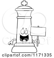 Cartoon Clipart Of A Happy Black Chess King Holding A Sign Vector Outlined Coloring Page