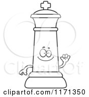 Cartoon Clipart Of A Waving Black Chess King Vector Outlined Coloring Page