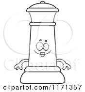 Cartoon Clipart Of A Happy Black Chess Queen Mascot Vector Outlined Coloring Page