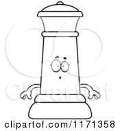 Cartoon Clipart Of A Surprised Black Chess Queen Mascot Vector Outlined Coloring Page