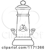 Cartoon Clipart Of A Mad Black Chess King Vector Outlined Coloring Page