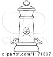 Cartoon Clipart Of A Depressed Black Chess King Vector Outlined Coloring Page