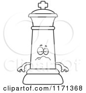 Cartoon Clipart Of A Sick Black Chess King Vector Outlined Coloring Page