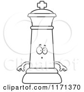 Cartoon Clipart Of A Surprised Black Chess King Vector Outlined Coloring Page