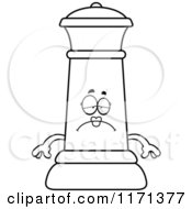 Cartoon Clipart Of A Depressed Black Chess Queen Mascot Vector Outlined Coloring Page