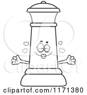 Cartoon Clipart Of A Loving Black Chess Queen Mascot Wanting A Hug Vector Outlined Coloring Page