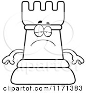 Cartoon Clipart Of A Depressed Black Chess Rook Mascot Vector Outlined Coloring Page