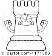 Cartoon Clipart Of A Mad Black Chess Rook Mascot Vector Outlined Coloring Page
