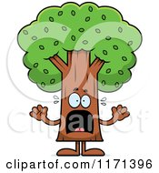 Cartoon Of A Screaming Tree Mascot Royalty Free Vector Clipart