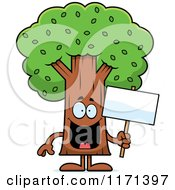 Cartoon Of A Happy Tree Mascot Holding A Sign Royalty Free Vector Clipart