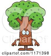 Cartoon Of A Happy Tree Mascot Royalty Free Vector Clipart by Cory Thoman