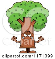 Cartoon Of A Mad Tree Mascot Royalty Free Vector Clipart