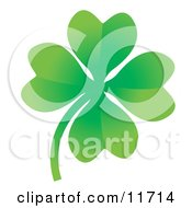 Good Luck Four Leaf Clover Clipart Illustration by AtStockIllustration
