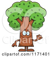 Cartoon Of A Waving Tree Mascot Royalty Free Vector Clipart