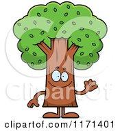 Cartoon Of A Waving Tree Mascot Royalty Free Vector Clipart by Cory Thoman