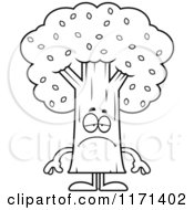 Cartoon Clipart Of A Depressed Tree Mascot Vector Outlined Coloring Page