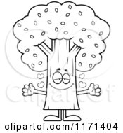 Cartoon Clipart Of A Loving Tree Mascot Wanting A Hug Vector Outlined Coloring Page