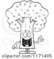Cartoon Clipart Of A Smart Tree Mascot With An Idea Vector Outlined Coloring Page