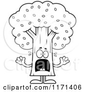 Cartoon Clipart Of A Screaming Tree Mascot Vector Outlined Coloring Page
