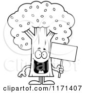 Cartoon Clipart Of A Happy Tree Mascot Holding A Sign Vector Outlined Coloring Page