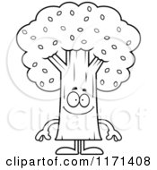 Cartoon Clipart Of A Happy Tree Mascot Vector Outlined Coloring Page