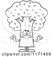 Cartoon Clipart Of A Mad Tree Mascot Vector Outlined Coloring Page