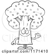 Cartoon Clipart Of A Waving Tree Mascot Vector Outlined Coloring Page