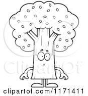 Cartoon Clipart Of A Surprised Tree Mascot Vector Outlined Coloring Page