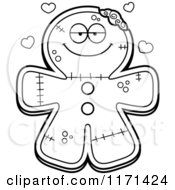 Cartoon Clipart Of A Loving Gingerbread Zombie Mascot With Open Arms Vector Outlined Coloring Page by Cory Thoman
