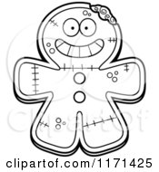 Cartoon Clipart Of A Grinning Happy Gingerbread Zombie Mascot Vector Outlined Coloring Page by Cory Thoman