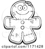 Cartoon Clipart Of A Happy Gingerbread Zombie Mascot Vector Outlined Coloring Page by Cory Thoman