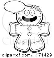 Cartoon Clipart Of A Happy Talking Gingerbread Zombie Mascot Vector Outlined Coloring Page by Cory Thoman