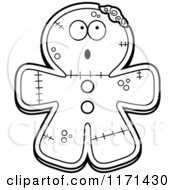 Cartoon Clipart Of A Surprised Gingerbread Zombie Mascot Vector Outlined Coloring Page by Cory Thoman