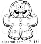 Cartoon Clipart Of A Hungry Gingerbread Zombie Mascot Vector Outlined Coloring Page by Cory Thoman